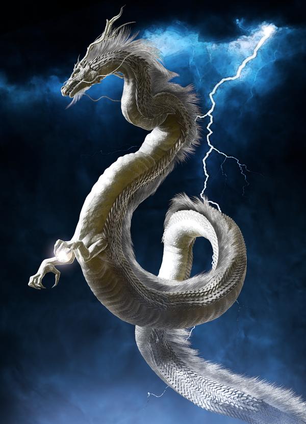 龍の絵 稲妻と龍