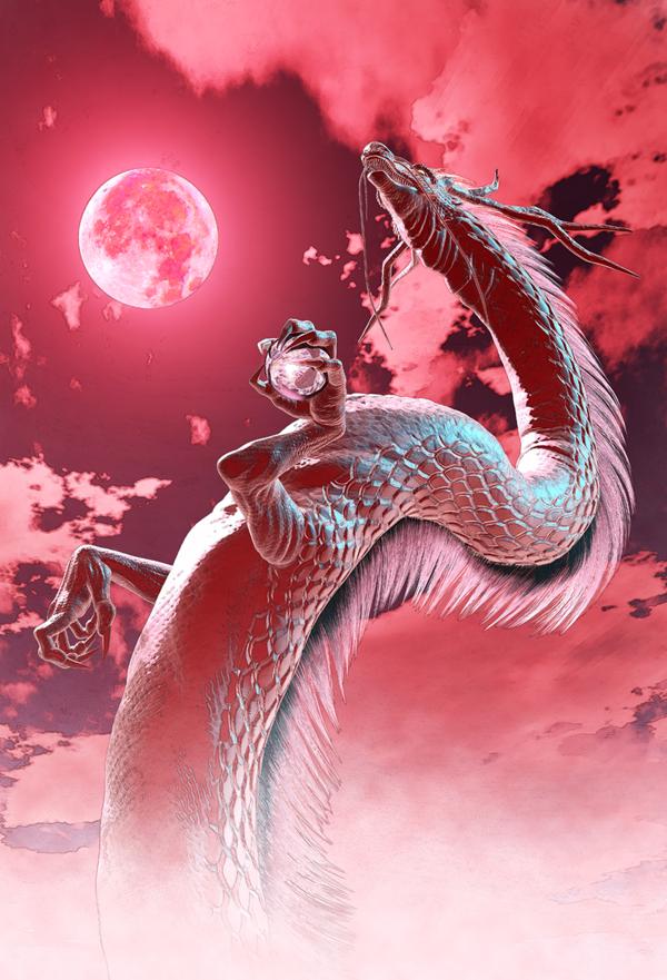 龍の絵 赤い月と龍