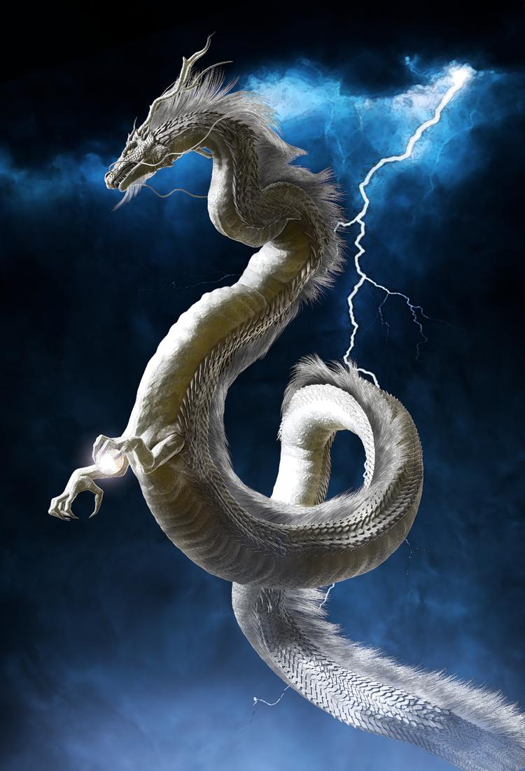 龍の絵 龍と稲妻