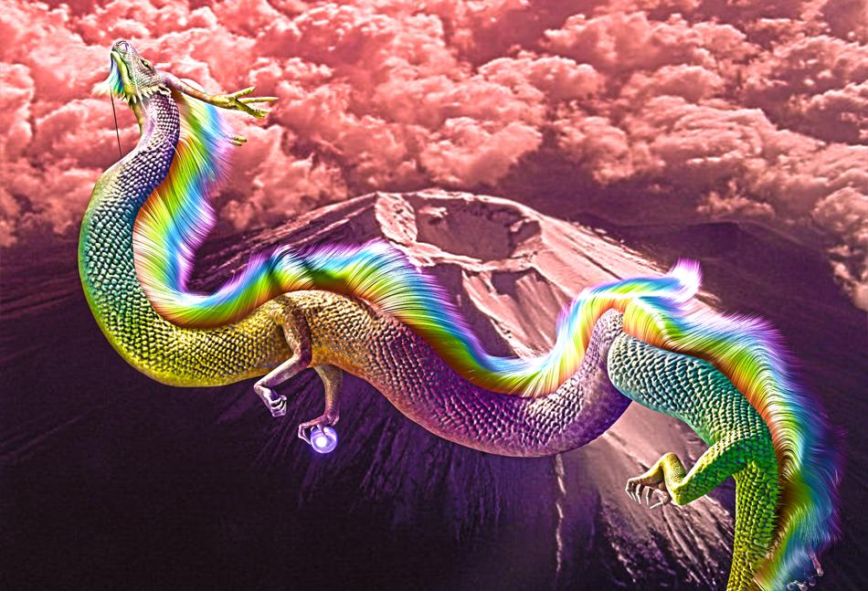 龍の絵 富士と龍
