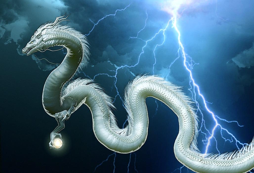 龍の絵 稲妻と白龍