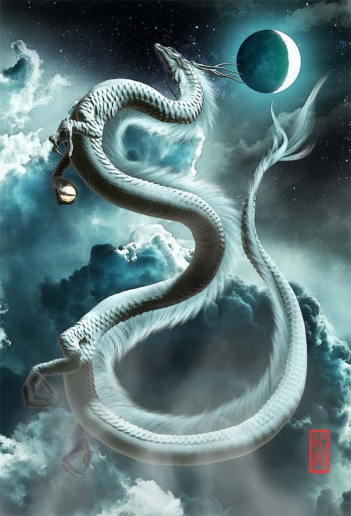 龍の絵「三日月と白龍」