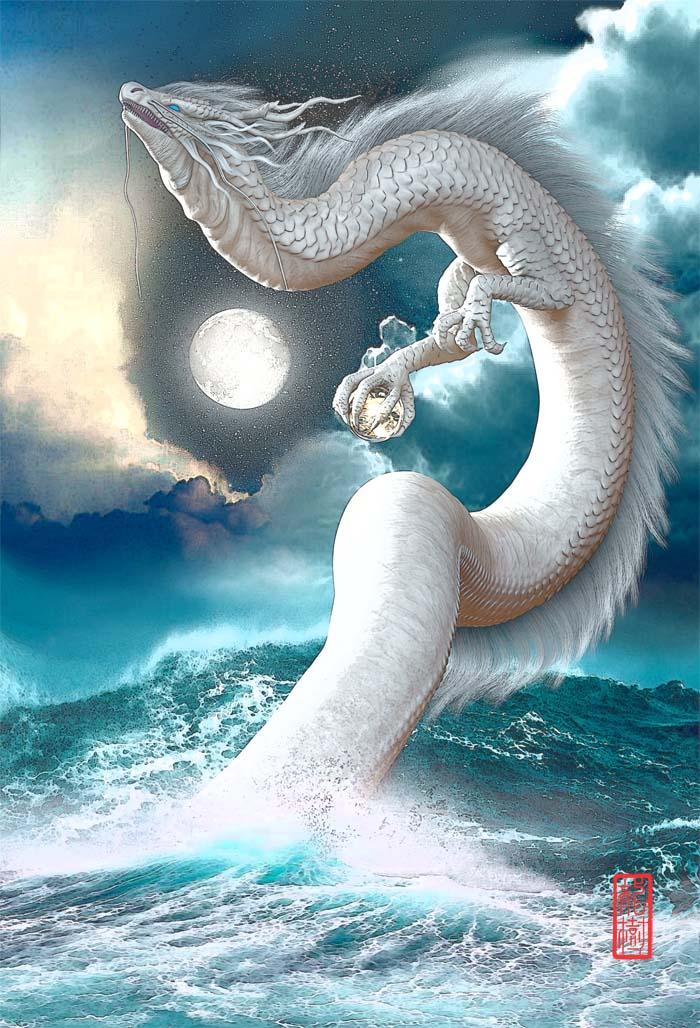 龍の絵 海の白龍