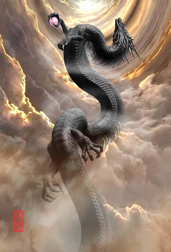 龍の絵 昇竜-黒龍