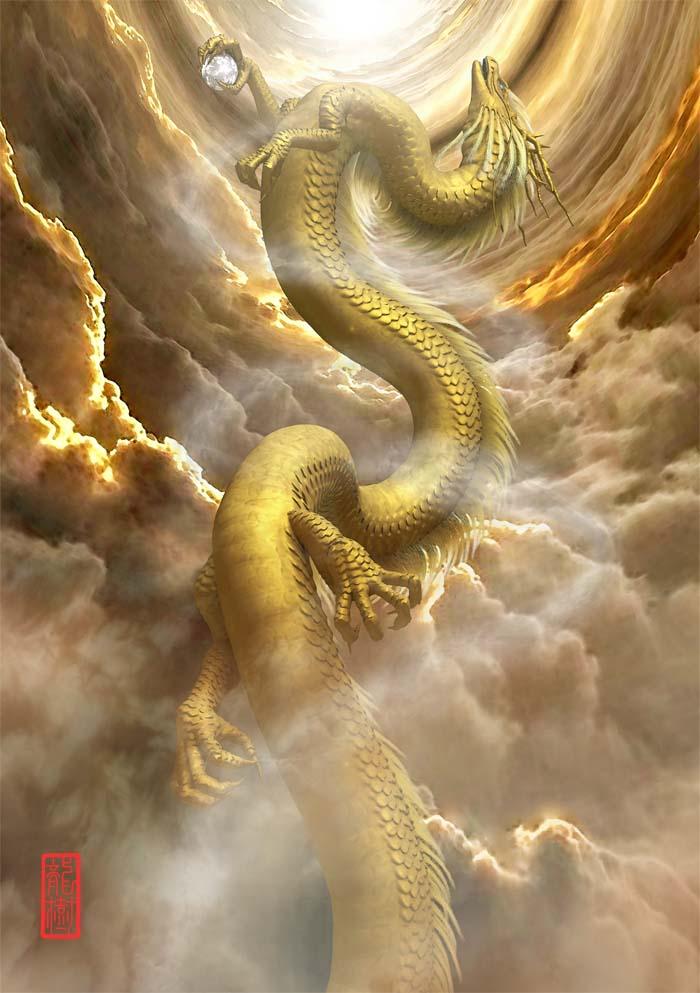 龍の絵「昇龍、金龍」