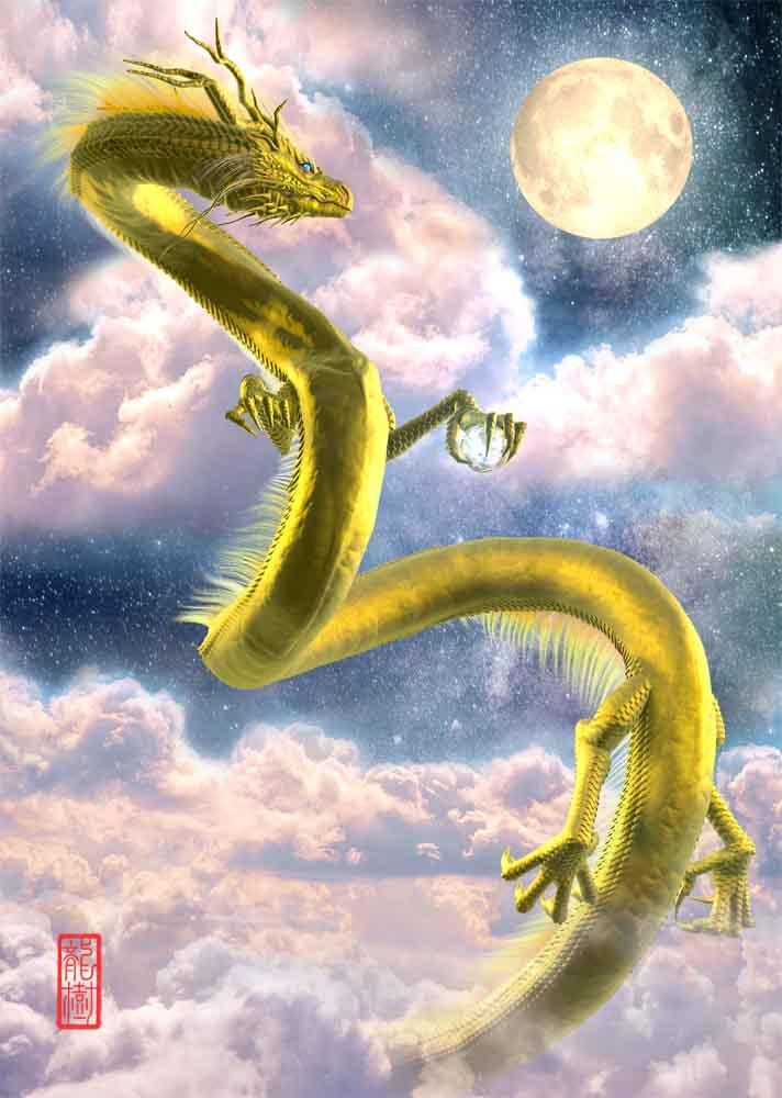 龍の絵、月下の金龍