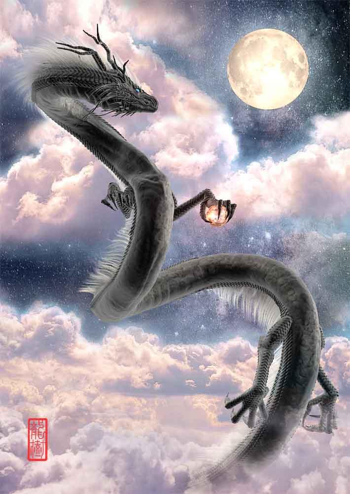 龍の絵、月下の黒龍