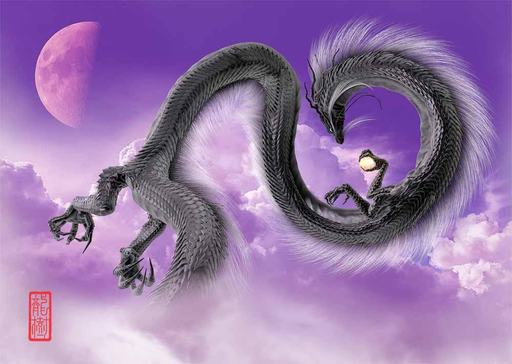 龍の絵-半月と黒龍