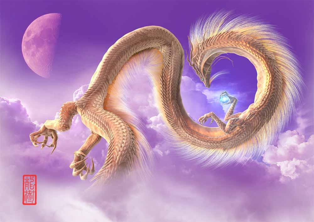 龍の絵-半月と金龍