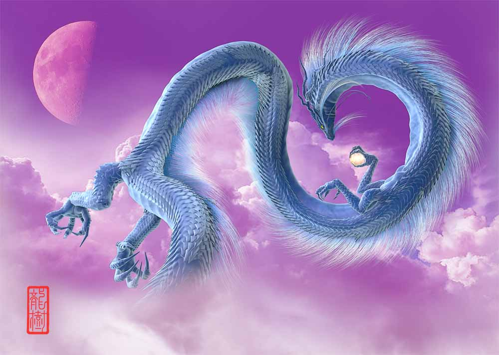 龍の絵-半月と青龍